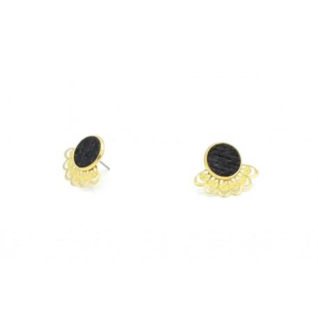 Boucles d'oreille éventail cuir noir