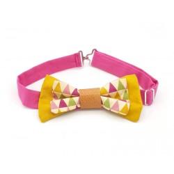 Noeud papillon moutarde et rose motif géométrique