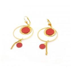 Boucles d'oreille géométrie ronde cuir rouge