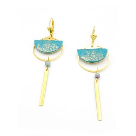 Boucles d'oreille géométrie demi-lune cuir turquoise
