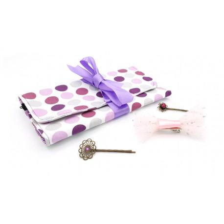 Pochette range-barrettes pois violet