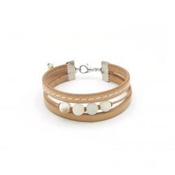 Bracelet ajustable pour femme cuir beige et perles naturelles amazonite