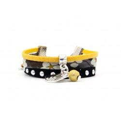 Bracelet fillette coton Liberty of london Mitsi, suédine noire et jaune