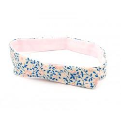 Headband modulable réversible, uni rose et motif floral
