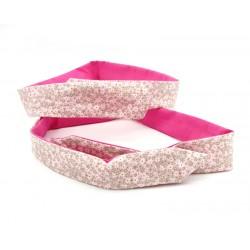 Headband modulable et réversible, uni rose et motif floral