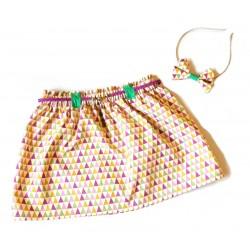 Jupe fillette motif géométrique multicolore
