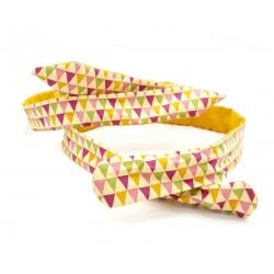 Headband réversible et modulable, uni moutarde et motif triangle
