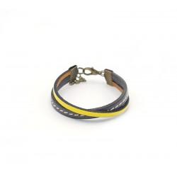 Bracelet garçon en cuir jaune et gris 06