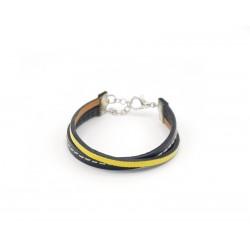 Bracelet garçon en cuir noir et jaune 08