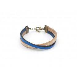 Bracelet garçon cuir beige et bleu 09