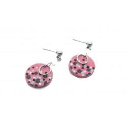 Boucles d'oreille cuir rose et pierres naturelles