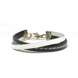 Bracelet cuir gris et blanc