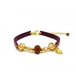 Bracelet cuir rouge et marron 12