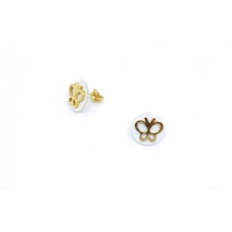 Boucles d'oreille puces en cuir et acier papillon