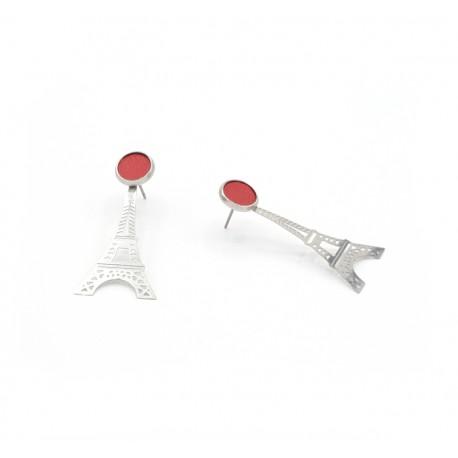 Boucles d'oreille acier tour eiffel et cuir rouge