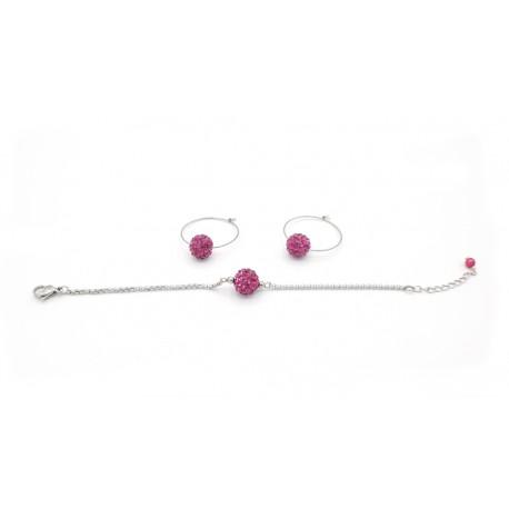 Parure bracelet et créoles roses
