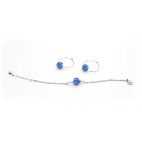 Parure bracelet et créoles bleues
