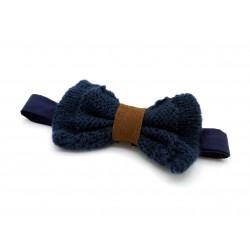 Noeud papillon laine bleu nuit et cuir marron