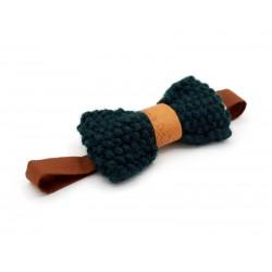 Noeud papillon laine verte bouteille et cuir marron