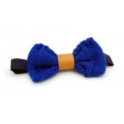 Noeud papillon laine bleue et cuir marron