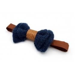 Noeud papillon laine bleu et cuir marron