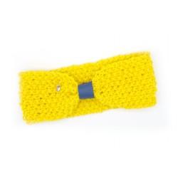 Cache oreille jaune et bleu, breloque feuille