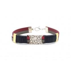 Bracelet cuir pour homme feuille