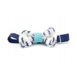 Noeud papillon laine bleu,rose et blanche, cuir turquoise