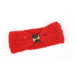 Cache-oreilles rouge,cuir noir et breloque étoile