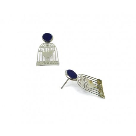 Boucles d'oreille acier cages à oiseau et cuir bleu